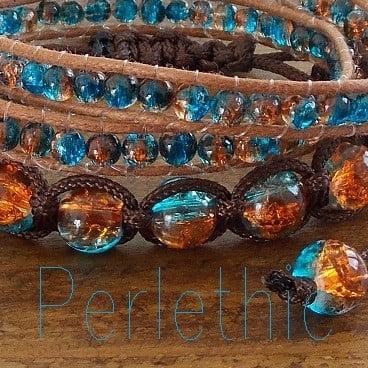 perles craquelées dark aqua topaz
