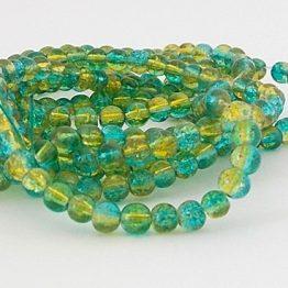 perles craquelées bleu zircon jaune