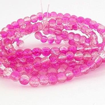 perles craquelées fuschia crystal