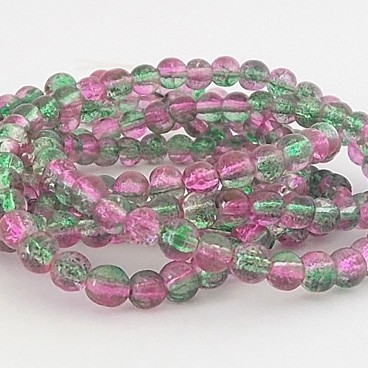 perles craquelées péridot rose