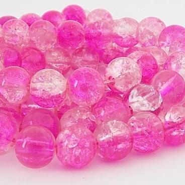perles craquelées 8mm fuschia crystal