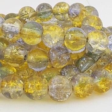 perles craquelées 8mm bleu jaune
