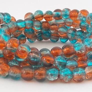 perles craquelées 8mm dark aqua topaz