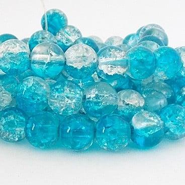 perles craquelées 8mm dark aqua crystal