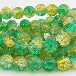 perles craquelées 8mm vert jaune