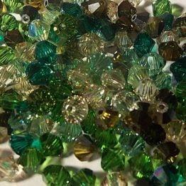 assortiment vert de perles toupies Swarovski