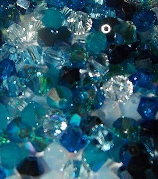 MIX bleu de perles toupies Swarovski