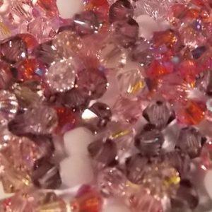 assortiment de perles Swarovski rose