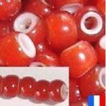 perles de rocaille rouge liner blanc