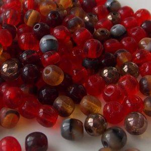 perles rondes en verre mix rouge