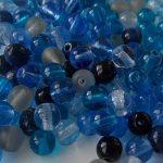 perles rondes en verre mix bleu gris