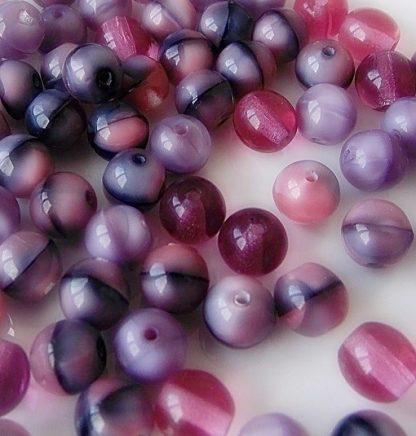 perles rondes verre 6mm mix rose